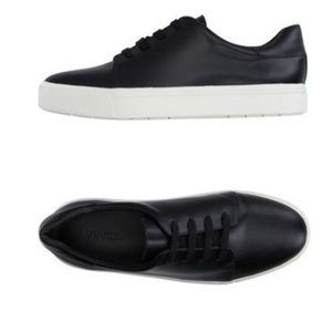 Vince Black Leather Lace Up Sneakers